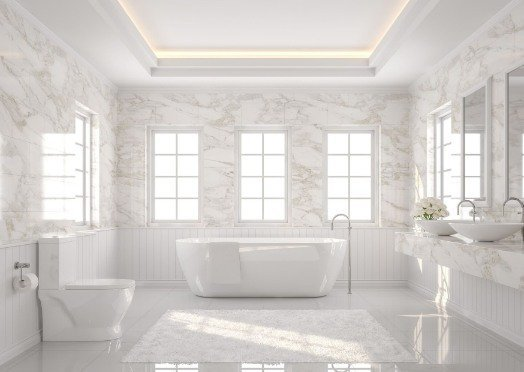 tiling in a white and bright bathroom at Cairns Tilers